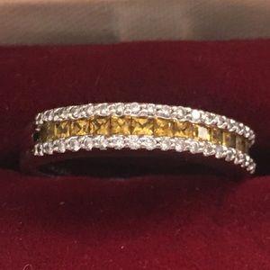 14 KT White Gold Diamond/Citrine Ring Size 7
